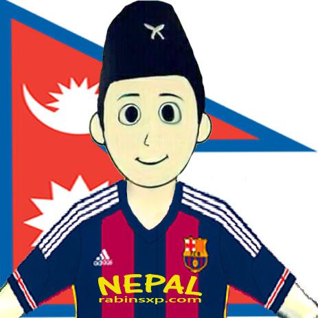 FC Barcelona Home Fan From Nepal - Nepalese Flag - JPEG